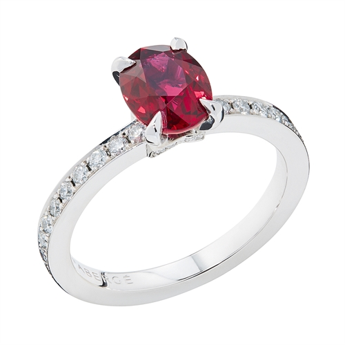 Platinum Oval Ruby and Diamond Chevron Ring