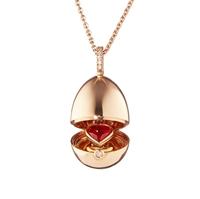 18k Rose Gold, Diamond & Ruby Heart Surprise Egg Pendant