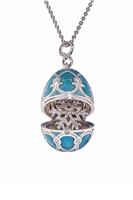 FABERGE CELEBRATES THE ALPINE SKIING WORLD CUP WITH SNOWFLAKE EGG PENDANT