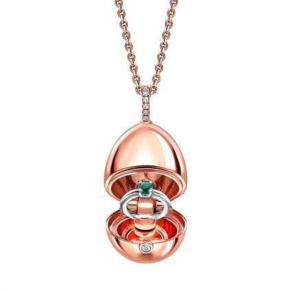 18k Rose Gold Locket with  Emerald Ring Surprise from Fabergé