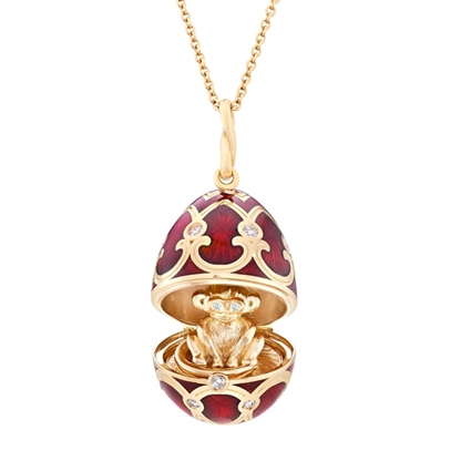 Yellow Gold Diamond & Red Guilloché Enamel Year Of The Monkey Surprise Locket | Fabergé