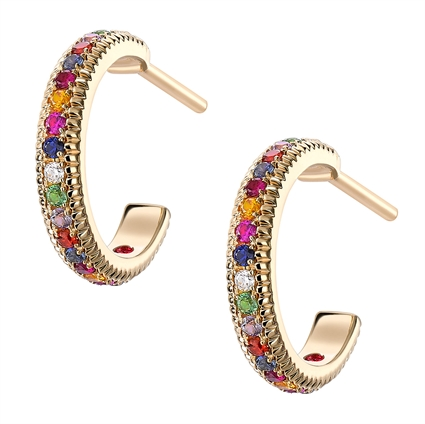 Yellow Gold, Sapphire, Diamond & Ruby Earrings from Fabergé