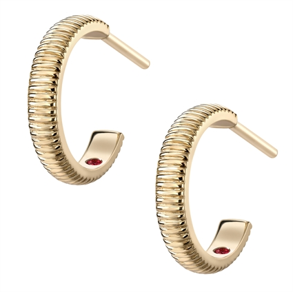Yellow Gold Fluted Hoop Earrings | Fabergé