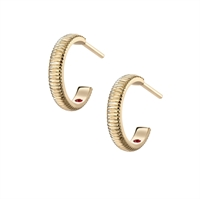 Yellow Gold Plain Fluted Hoop Earrings from Fabergé