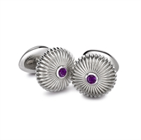 Domed Fluted Sterling Silver Cufflinks with Amethyst