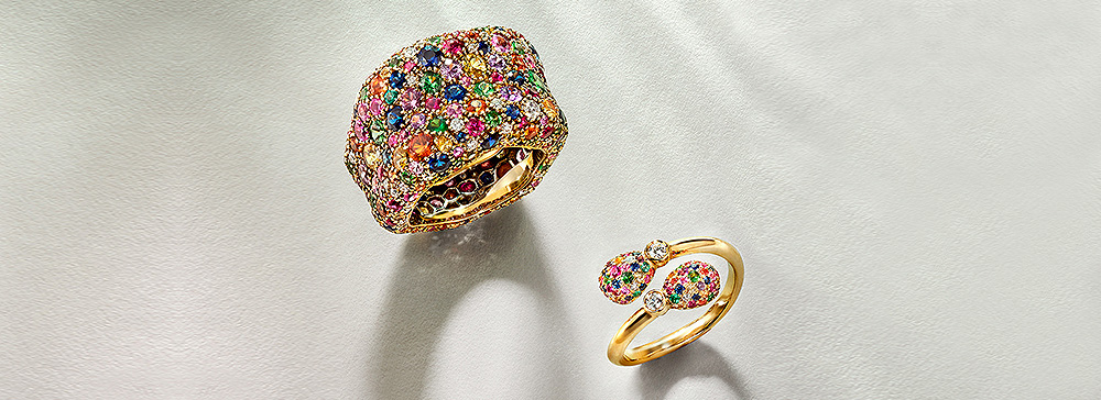 Two gemstones rings from the emotion collection.