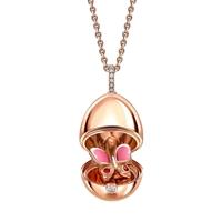 18K Rose Gold, Pink Sapphire & Diamond Butterfly Surprise Egg Pendant