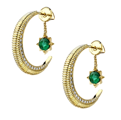 Crescent Yellow Gold Emerald & Diamond Earrings I Fabergé