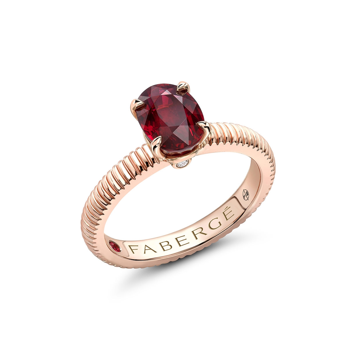18K Rose Gold & Oval Ruby Fluted Engagement Ring | Fabergé