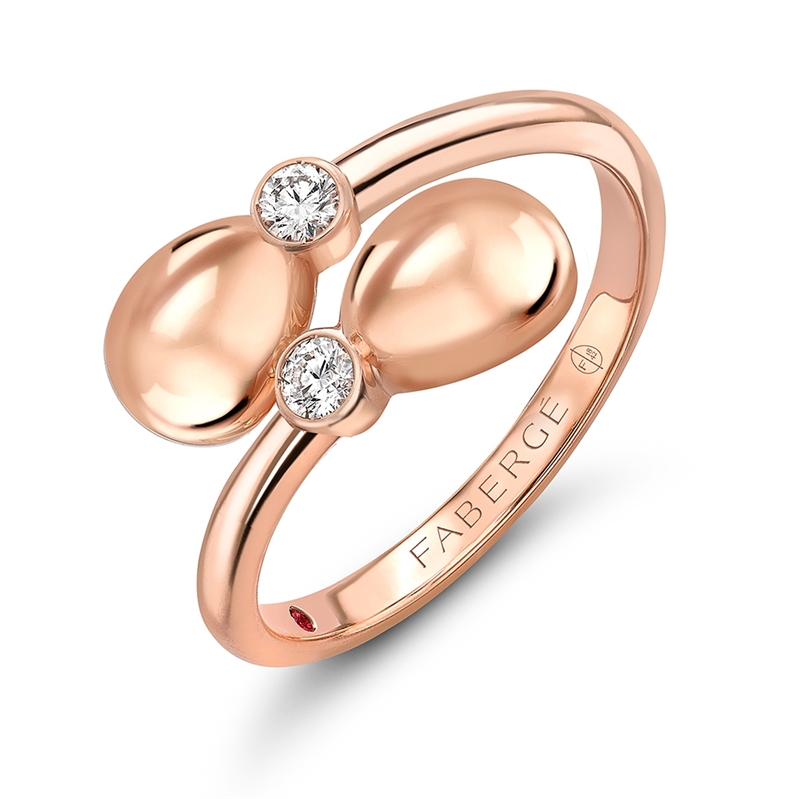 Ruby, Rose Gold & White Diamond Crossover Ring | Fabergé