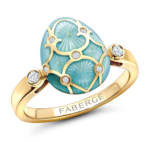 Palais 18K Yellow Gold Diamond & Turquoise Guilloché Enamel Egg Ring