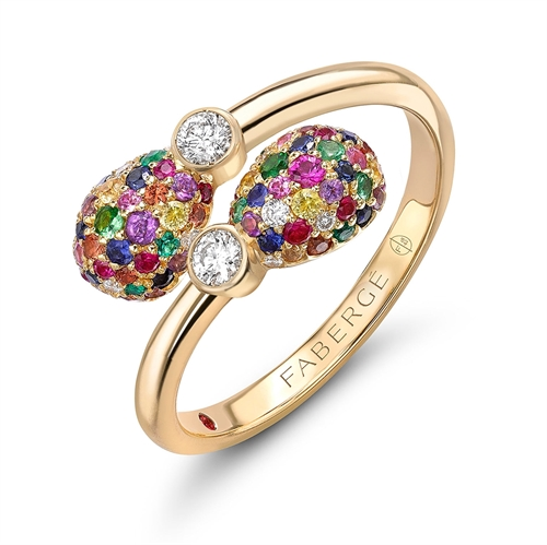 18K Yellow Gold Diamond & Multicolour Gemstone Encrusted Eggs Crossover Ring