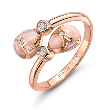 Rose Gold Diamond & Pink Guilloché Enamel Crossover Ring | Fabergé