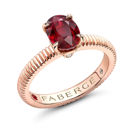18K Rose Gold Oval Ruby Fluted Ring