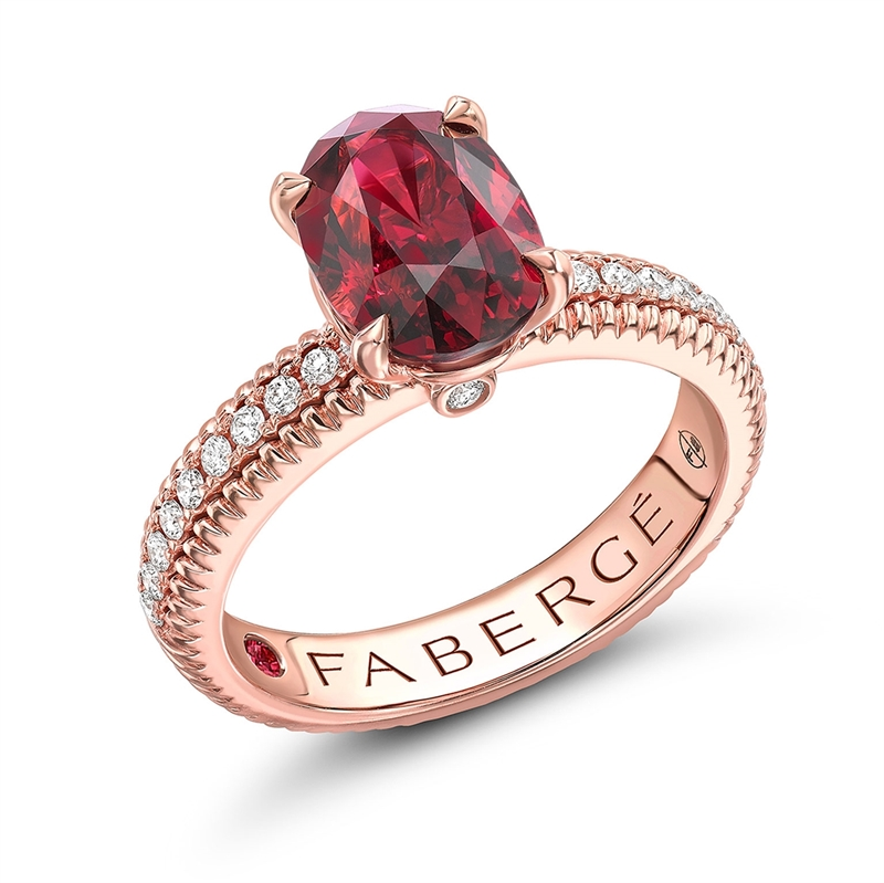 Rose Gold & Ruby Ring with Diamond-Set Shoulders | Fabergé