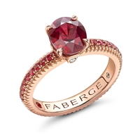 18K Rose Gold Oval Ruby (7x5) Fluted Ring with Ruby Set Shoulders