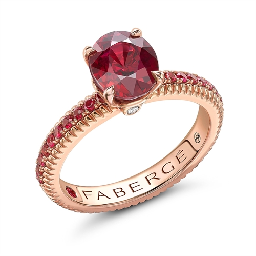 18K Rose Gold Oval Ruby Fluted Ring with Ruby Set Shoulders
