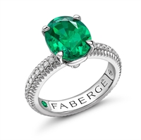 18K White Gold Oval Emerald Fluted Ring with Diamond Set Shoulders