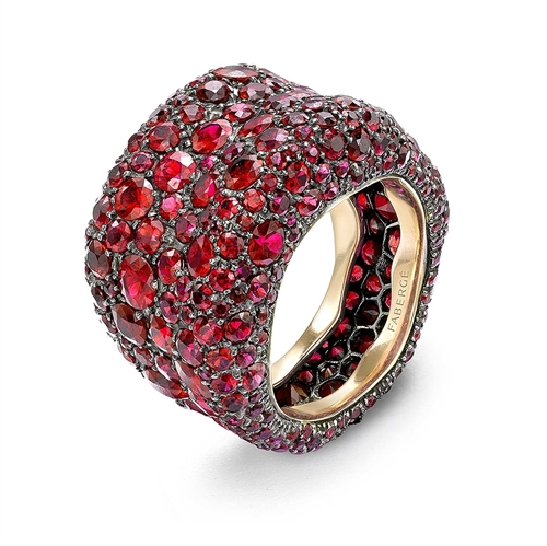 Emotion 18K Yellow Gold Ruby Encrusted Chunky Ring