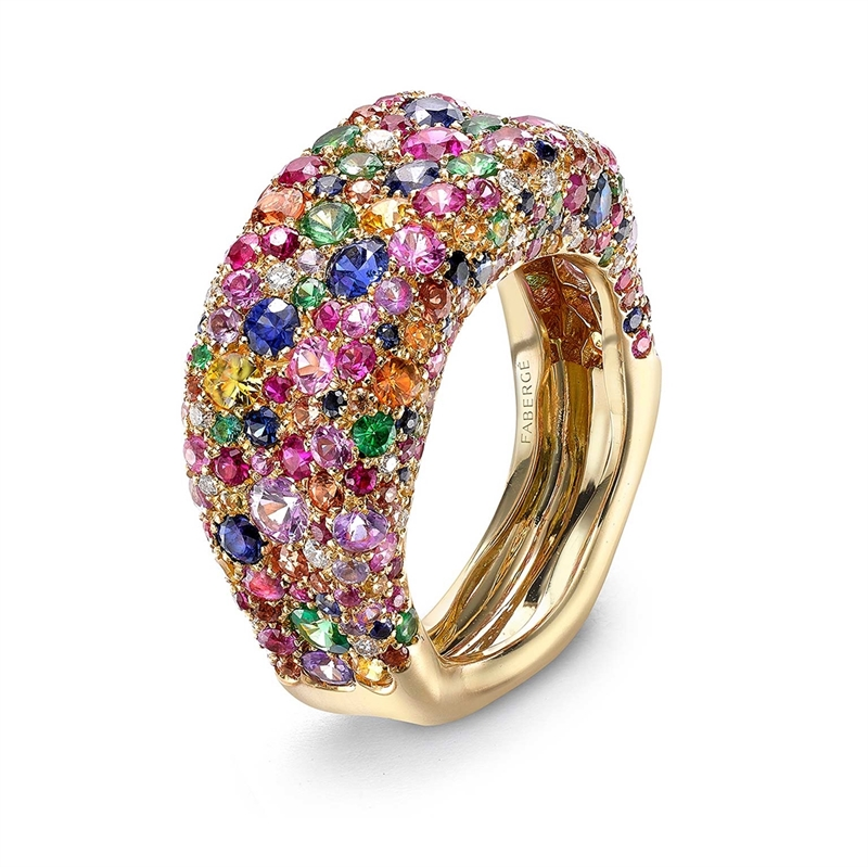 Gemstone Thin Ring - Fabergé Emotion Multi-coloured Thin Ring