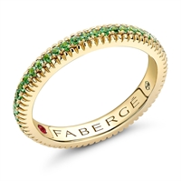 18K Yellow Gold, Tsavorite and Ruby Engagement Ring from Fabergé