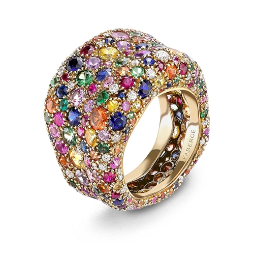 Emotion 18K Yellow Gold Multicolour Gemstone Encrusted Chunky Ring With Diamonds