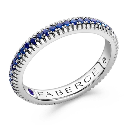 FABERGÉ Engagement Ring - Sapphire White Gold Fluted Band