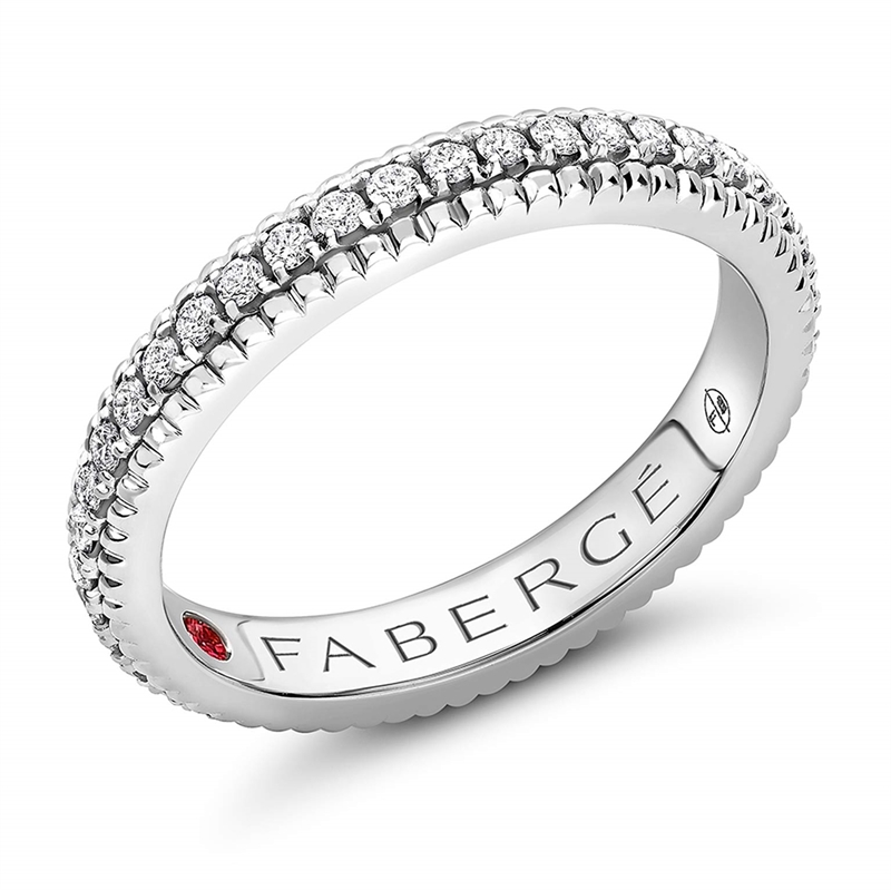FABERGÉ Engagement Ring - Diamond White Gold Fluted Band