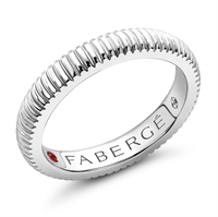 Fabergé White Gold & Ruby Fluted Band Ring