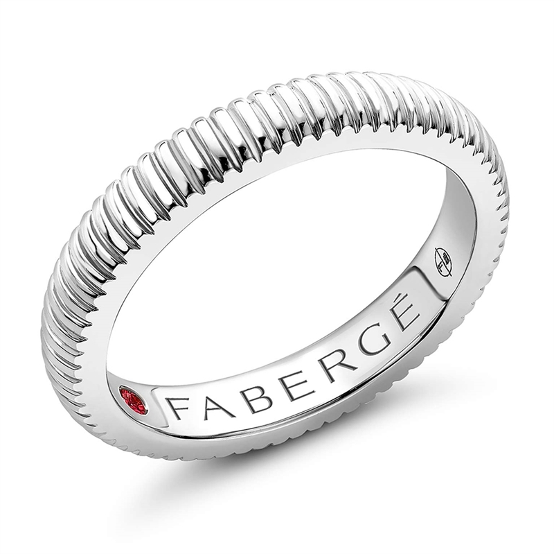FABERGÉ Engagement Ring - White Gold Fluted Band