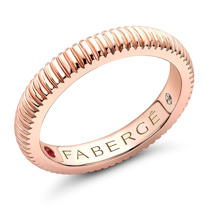 FABERGÉ Engagement Ring - Rose Gold Fluted Band