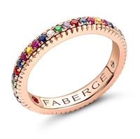 Multicoloured Rose Gold Fluted Engagement Ring from Fabergé