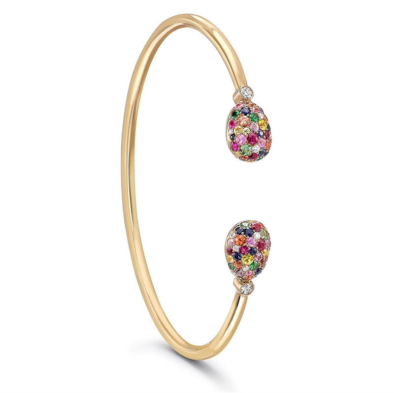 Yellow Gold Multicoloured Gemstone Open Bracelet | Fabergé