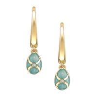 Yellow Gold, Diamond & Turquoise Enamel Fabergé Egg Drop Earrings