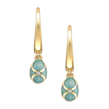 Yellow Gold Diamond & Turquoise Guilloché Enamel Hoop Drop Earrings | Fabergé