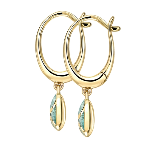 Yellow Gold Diamond & Turquoise Guilloché Enamel Hoop Drop Earrings | Fabergé
