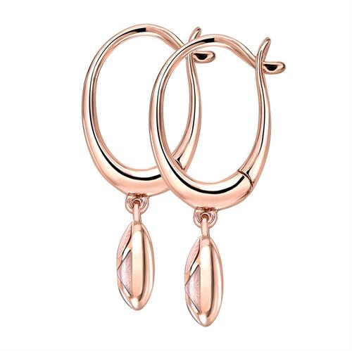 Rose Gold Diamond & Pink Guilloché Enamel Hoop Drop Earrings | Fabergé