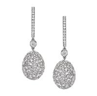 White Diamond & White Gold Fabergé Egg Earrings