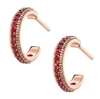 Rose Gold Ruby Fluted Hoop Earrings