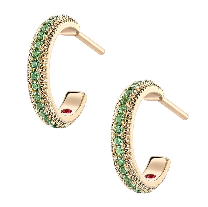 Yellow Gold Tsavorite Fluted Hoop Earrings | Fabergé