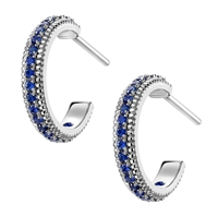 White Gold Sapphire Fluted Hoop Earrings