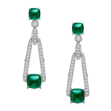 White Gold Sugarloaf Emerald Drop Earrings | Fabergé