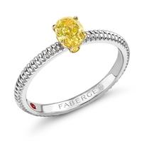Fabergé Yellow Diamond Platinum Fluted Ring