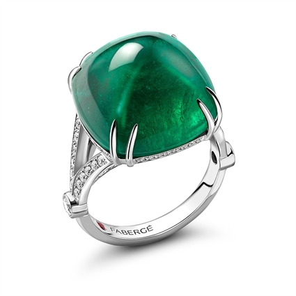 White Gold 22.31ct Sugarloaf Emerald Ring Set With Diamonds | Fabergé