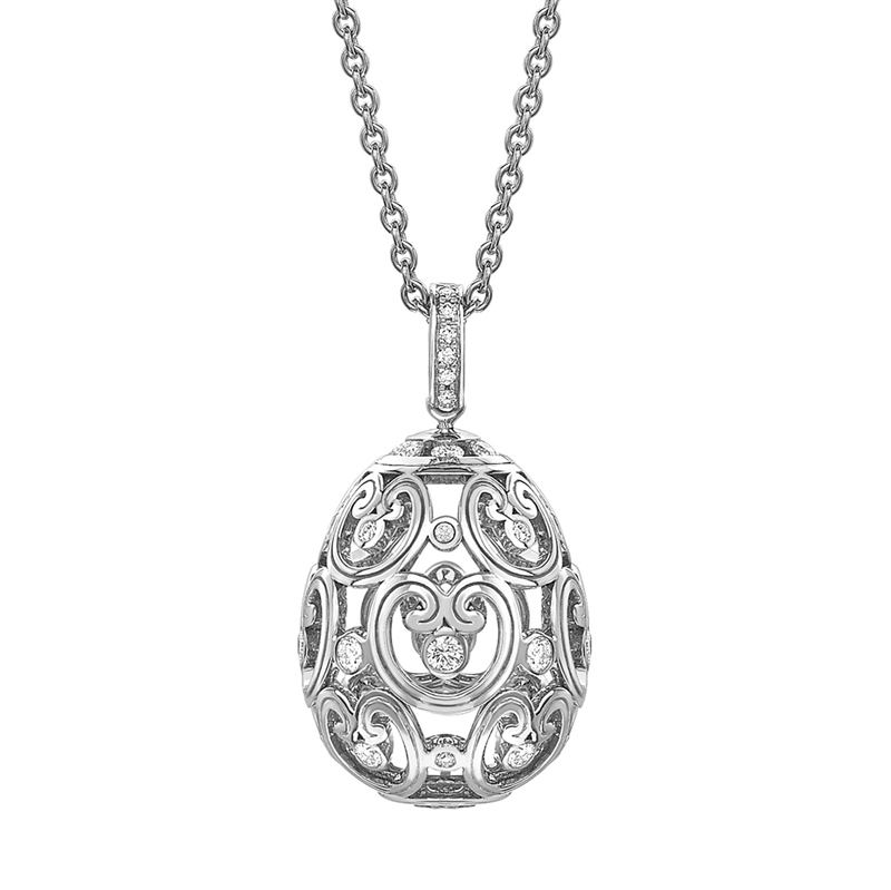 Impératrice White Gold Diamond Set Egg Pendant I Fabergé