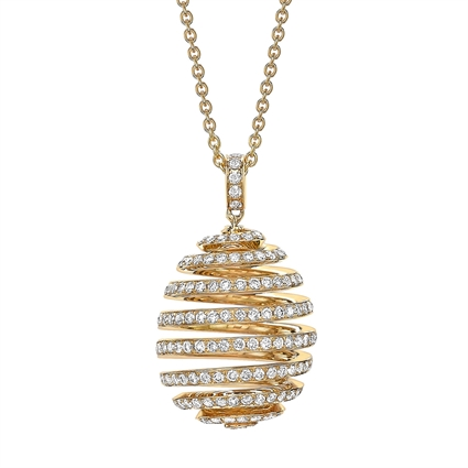 Fabergé Essence Yellow Gold Diamond Pavé Spiral Egg Pendant