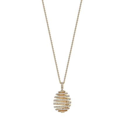 Yellow Gold Diamond Pavé Spiral Egg Pendant | Fabergé
