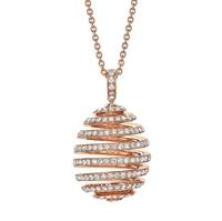 Diamond Rose Gold Pendant - Fabergé  Spiral Diamond Rose Gold Pendant