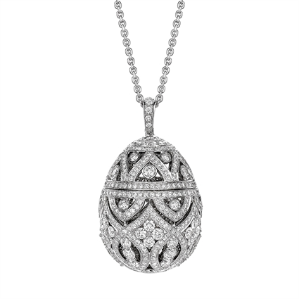 Zenya White Gold & Diamond Egg Pendant I Fabergé