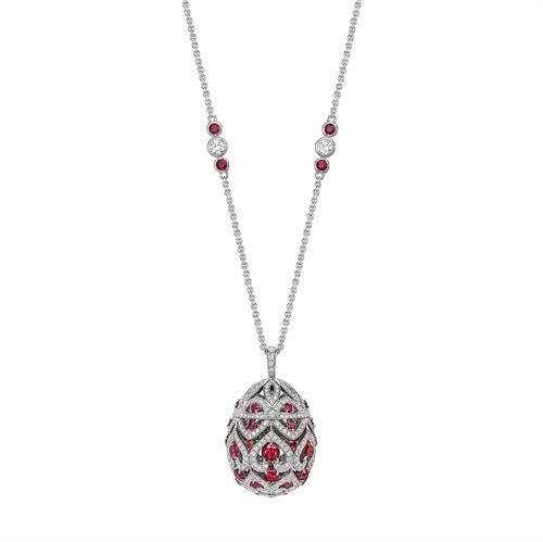Zenya White Gold & Ruby Egg Pendant I Fabergé